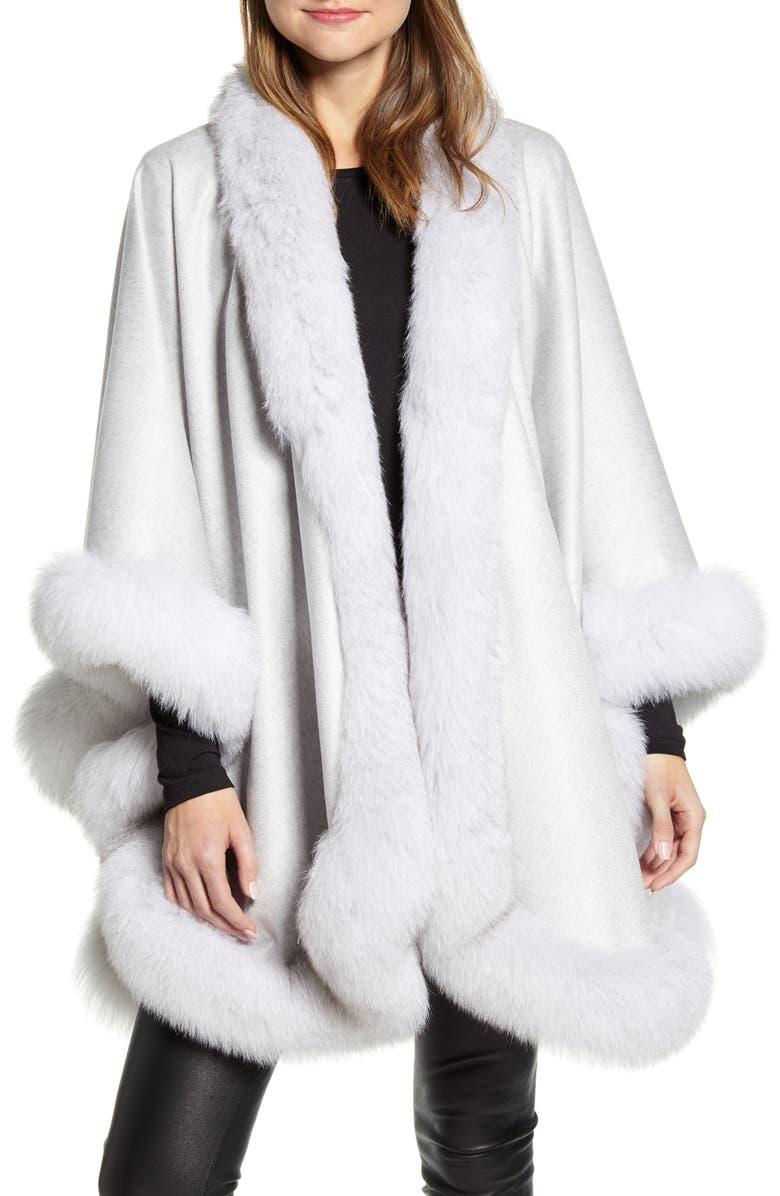 SOFIA CASHMERE Genuine Fox Fur Trim Cashmere Cape, Main, color, GLACIER