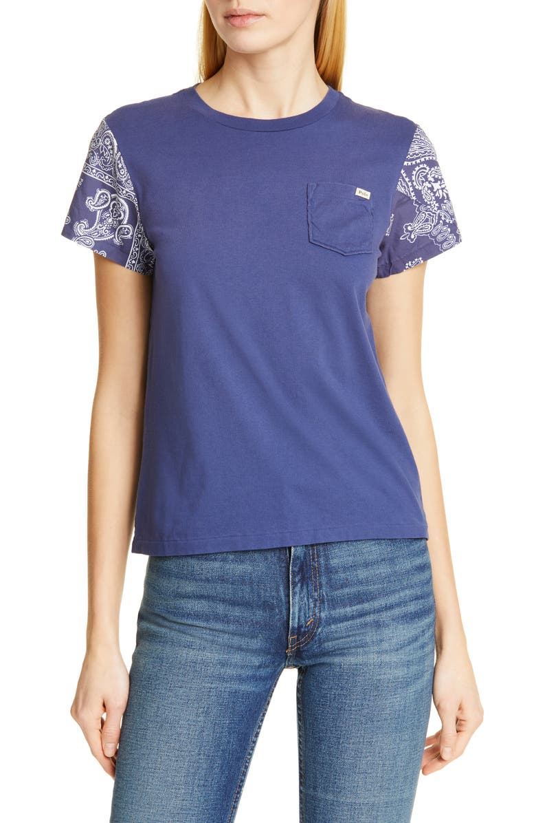 POLO RALPH LAUREN Contrast Sleeve Cotton Top, Main, color, NEW CLASSIC NAVY