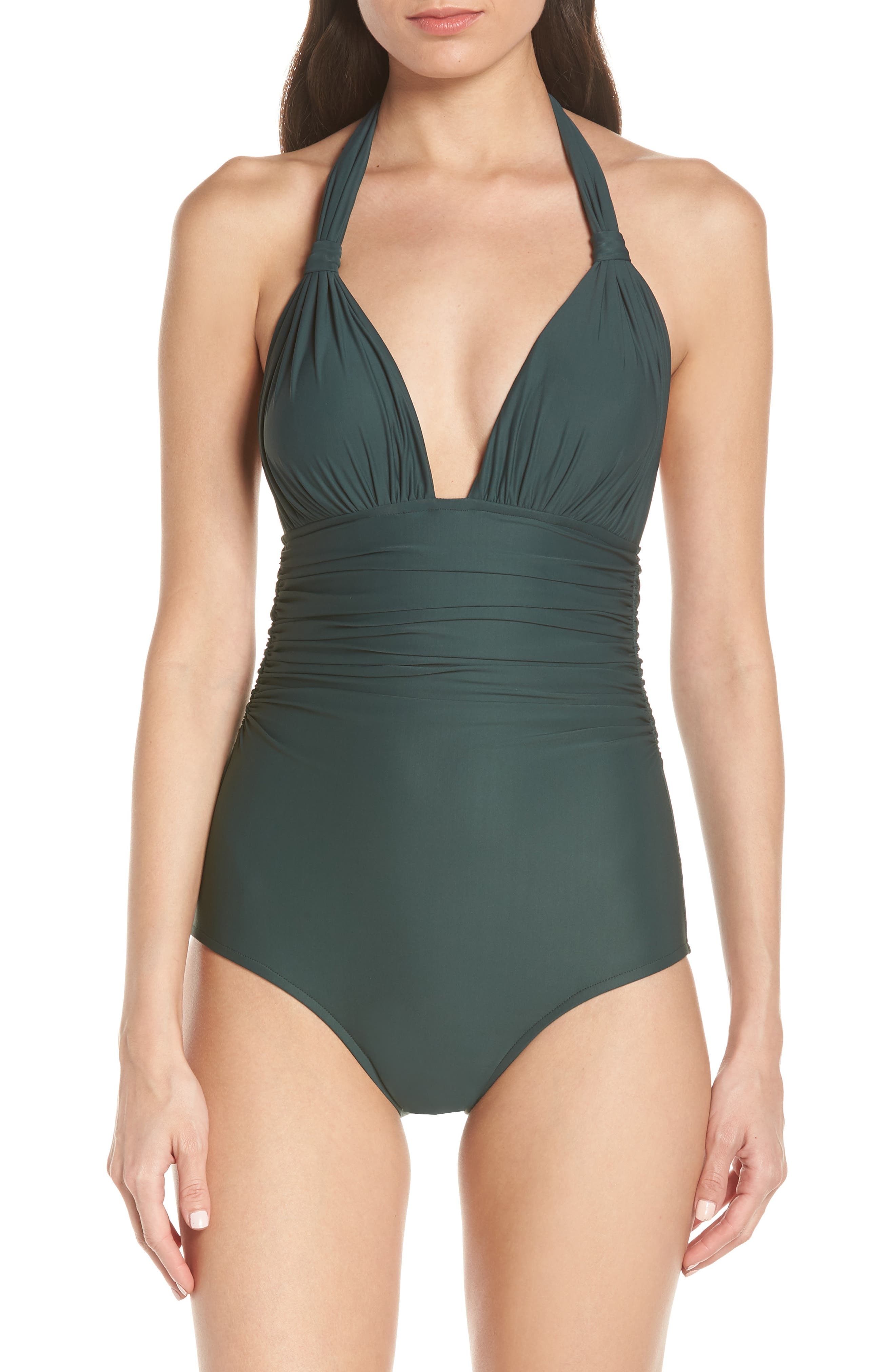Lenny Niemeyer Adjustable Halter One-Piece Swimsuit, Green