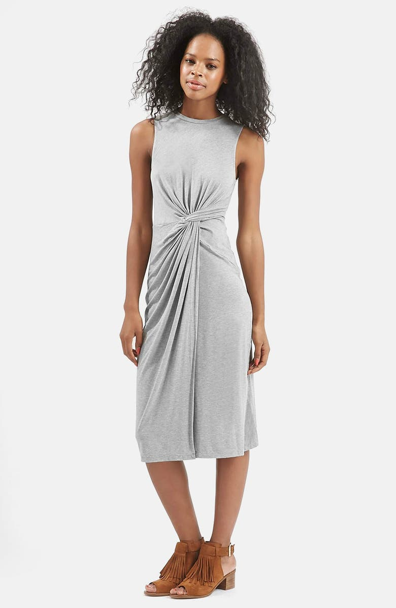 TOPSHOP Knotted Front Dress, Main, color, 020