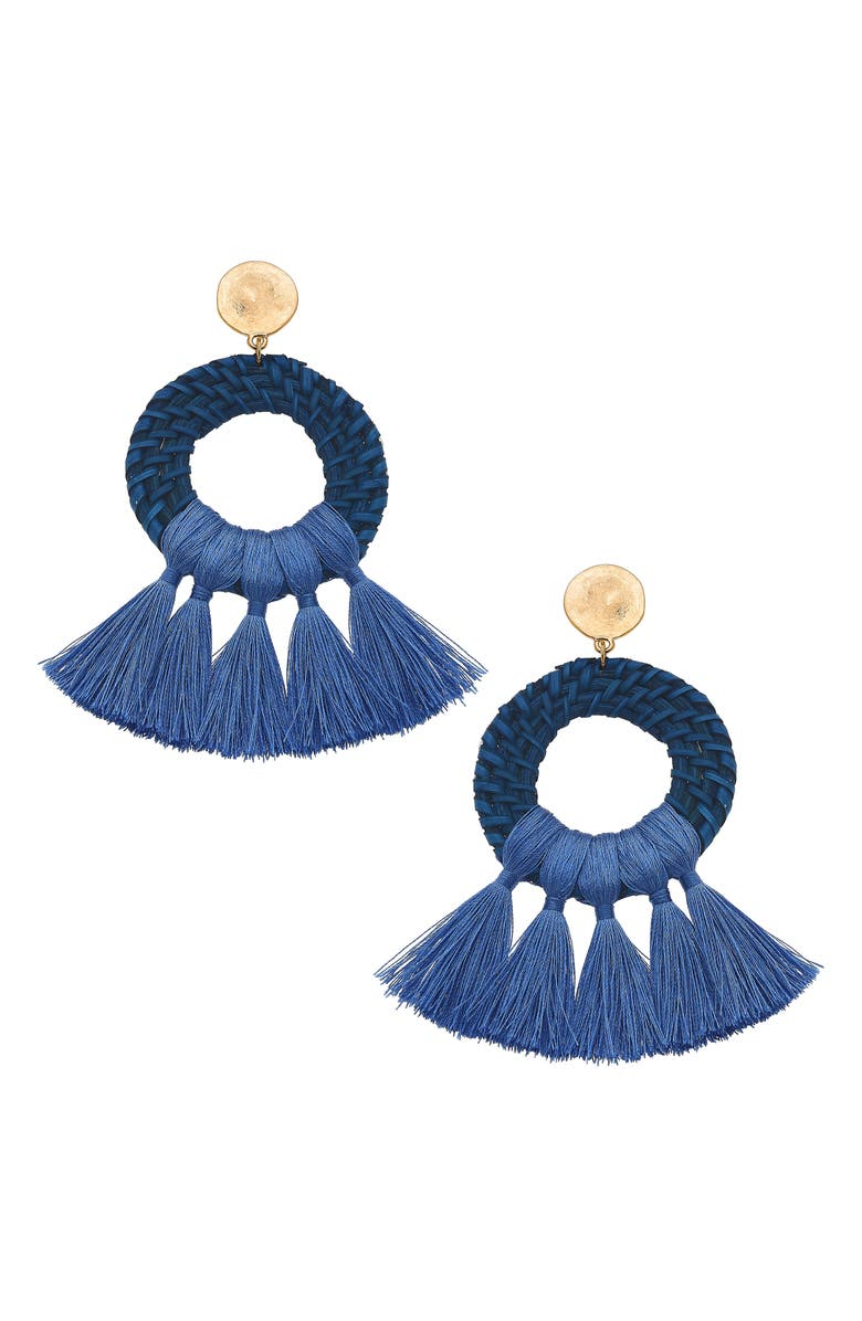 CANVAS JEWELRY Monroe Statement Earrings, Main, color, BLUE