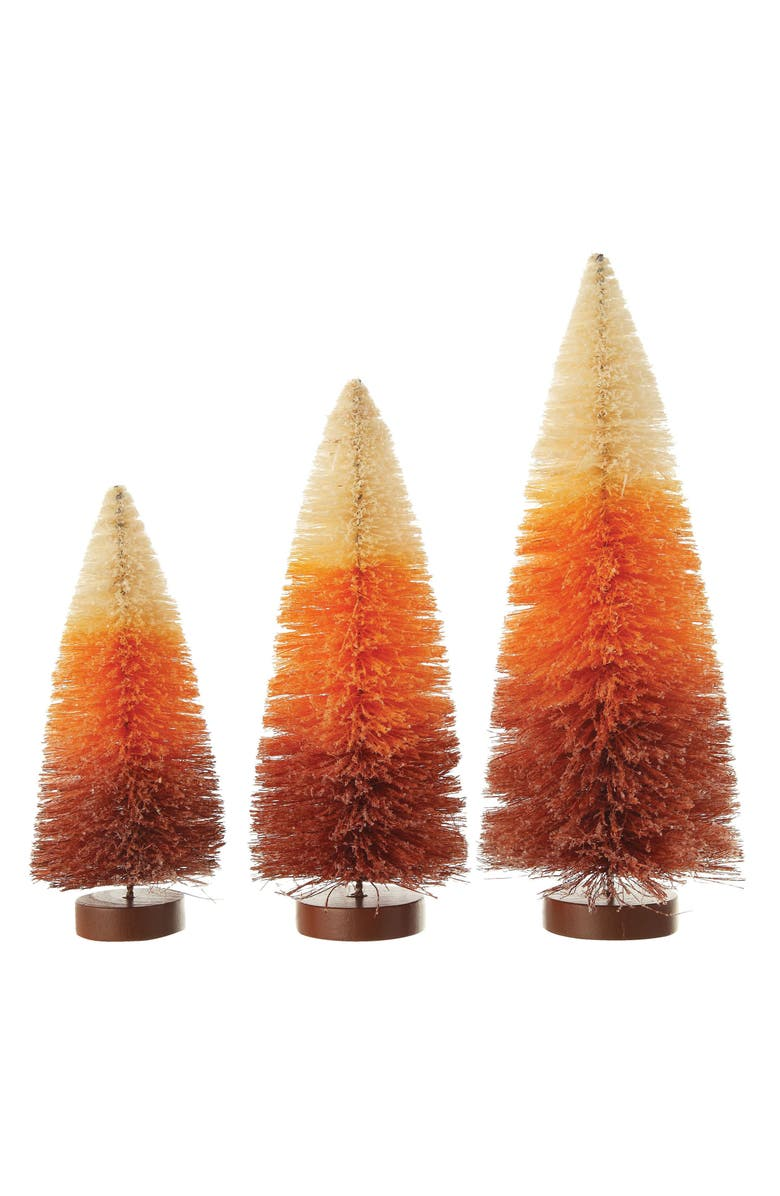 CREATIVE CO-OP Set of 3 Candy Corn Sisal Tree Decorations, Main, color, ORANGE