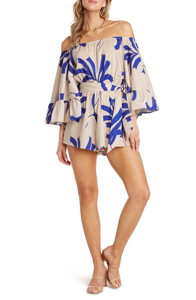 WILLOW Sam Off the Shoulder Romper, Main, color, COBALT