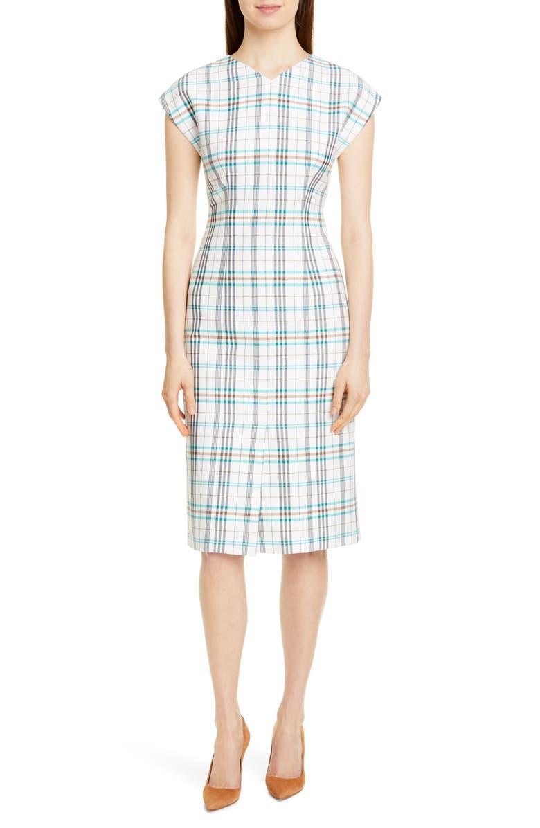 BOSS Daela Plaid Stretch Cotton Dress, Main, color, VANILLA LIGHT FANTASY