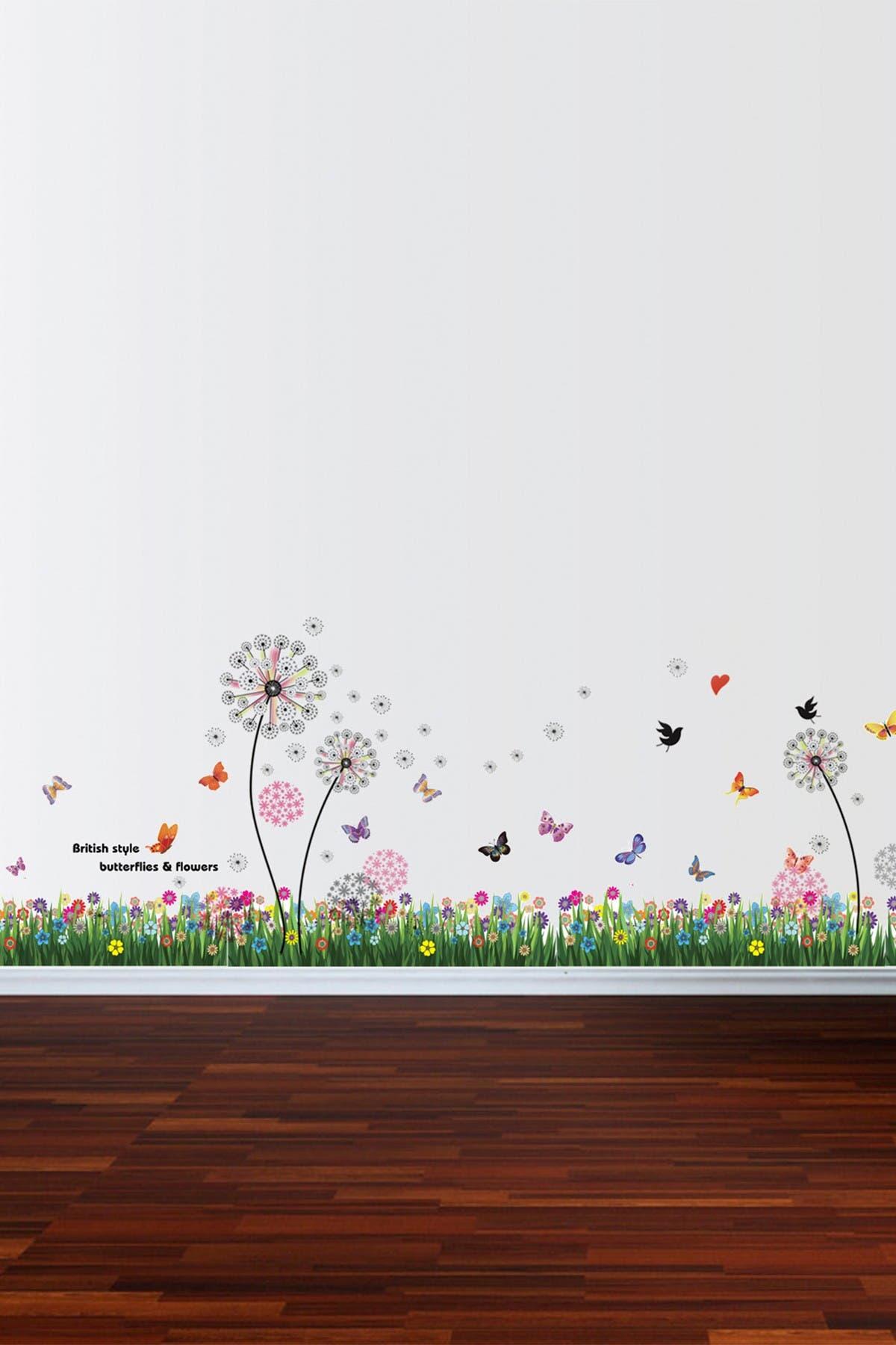 Image of WalPlus British Colorful Grass & Pink Dandelion Wall Sticker