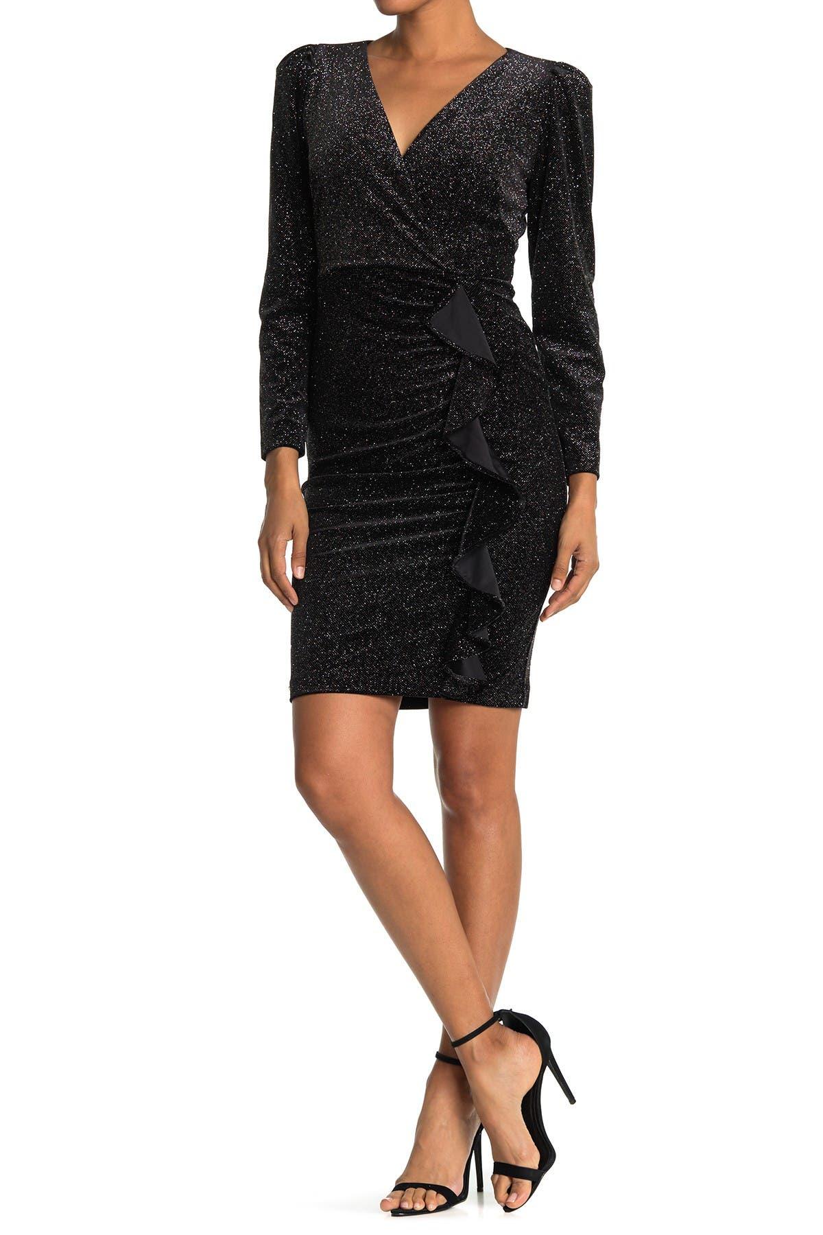 Image of Calvin Klein Sparkle Velvet Side Ruched Dress