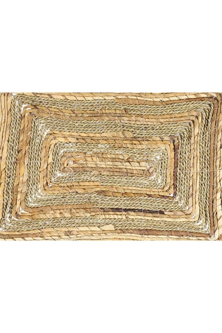 Image of Willow Row Rectangular Natural Banana Leaf Wicker & Seagrass Placemats - Set of 4