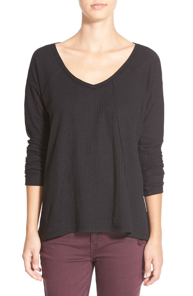 SUN & SHADOW V-Neck Thermal Swing Top, Main, color, 001