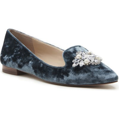 Sole Society Libry Crystal Embellished Flat- Blue