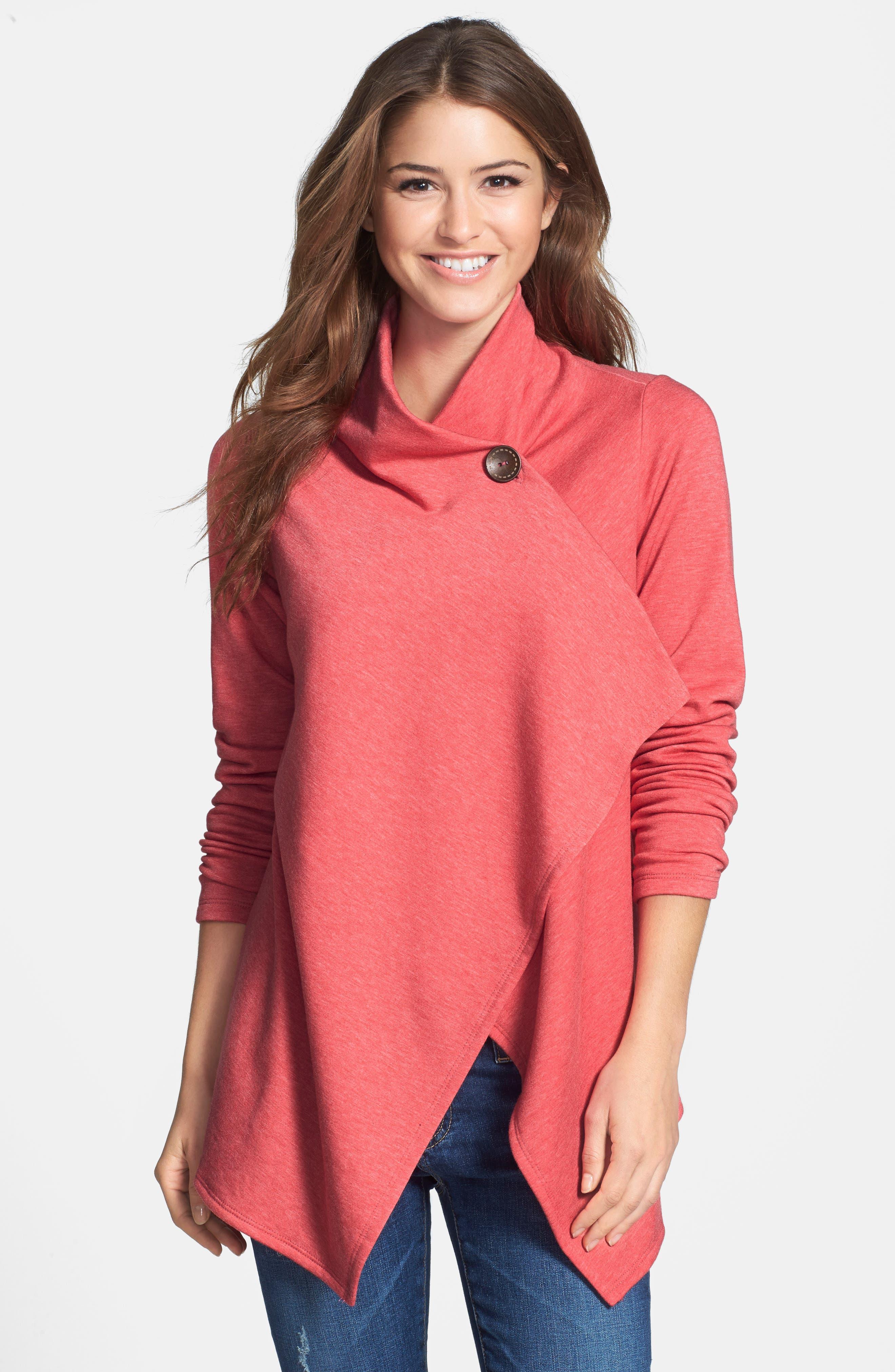 ,                             One-Button Fleece Wrap Cardigan,                             Alternate thumbnail 202, color,                             658