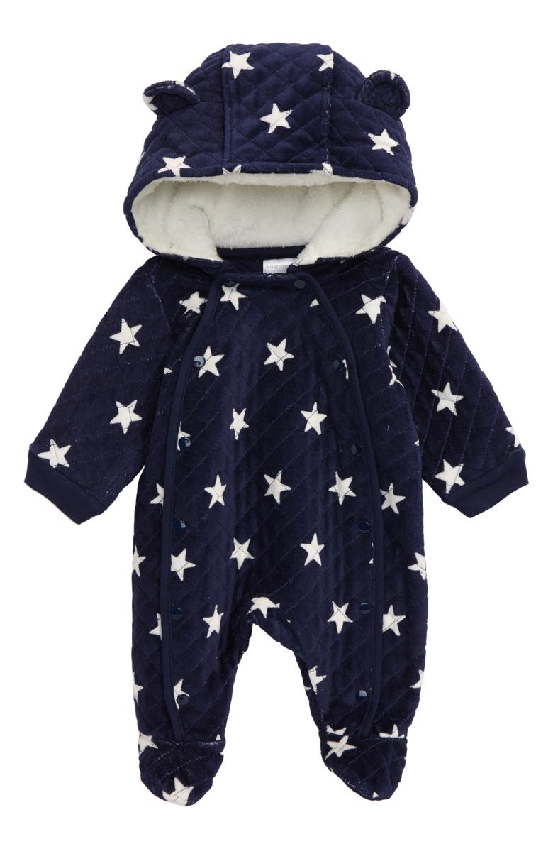 NORDSTROM BABY Hooded Bunting, Main, color, NAVY PEACOAT STARS