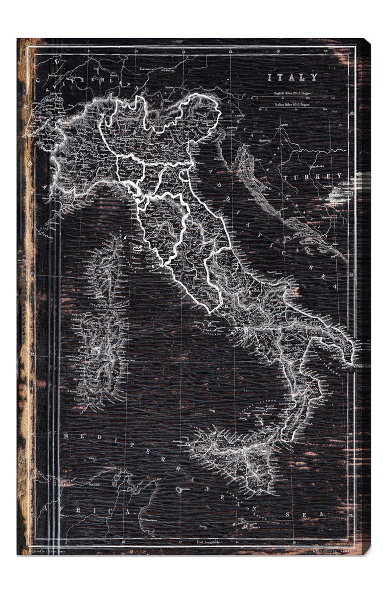 OLIVER GAL 'Map of Italy 1873' Wall Art, Main, color, GREY