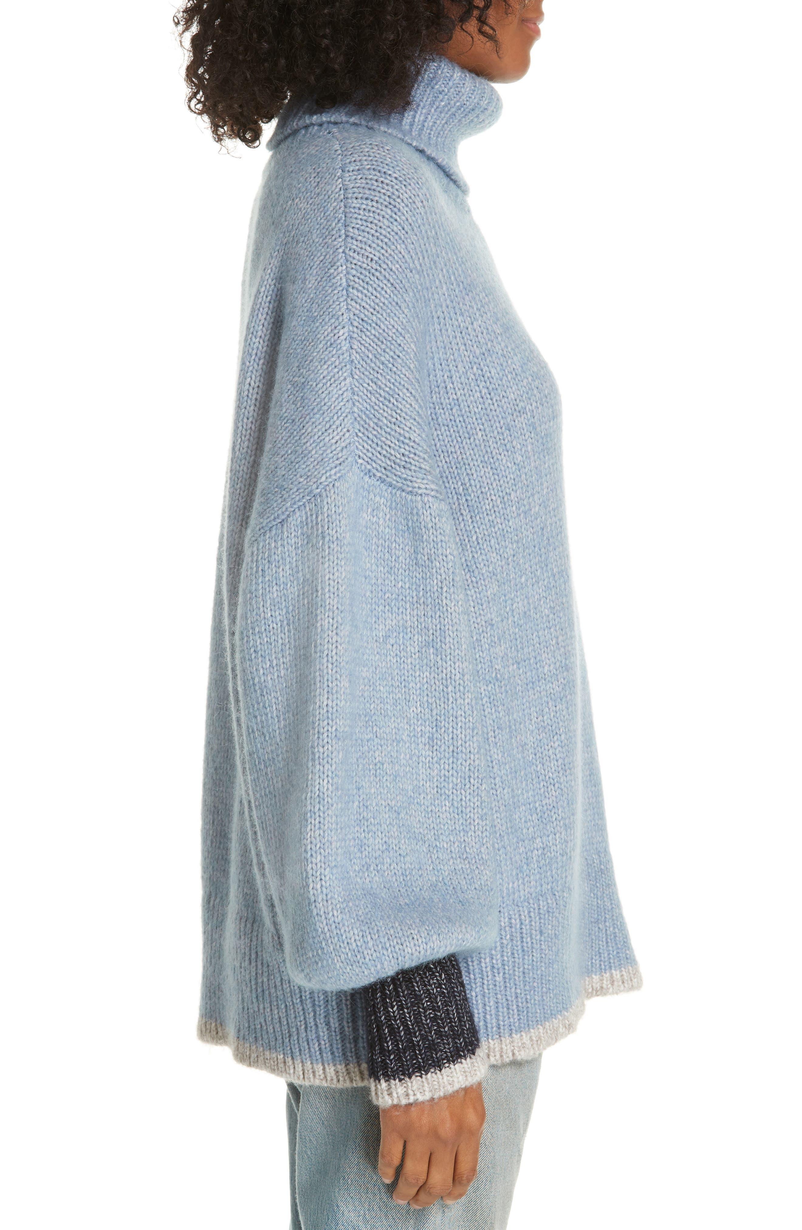 ,                             Oversize Turtleneck Sweater,                             Alternate thumbnail 3, color,                             LIGHT BLUE/ CREAM/ NAVY