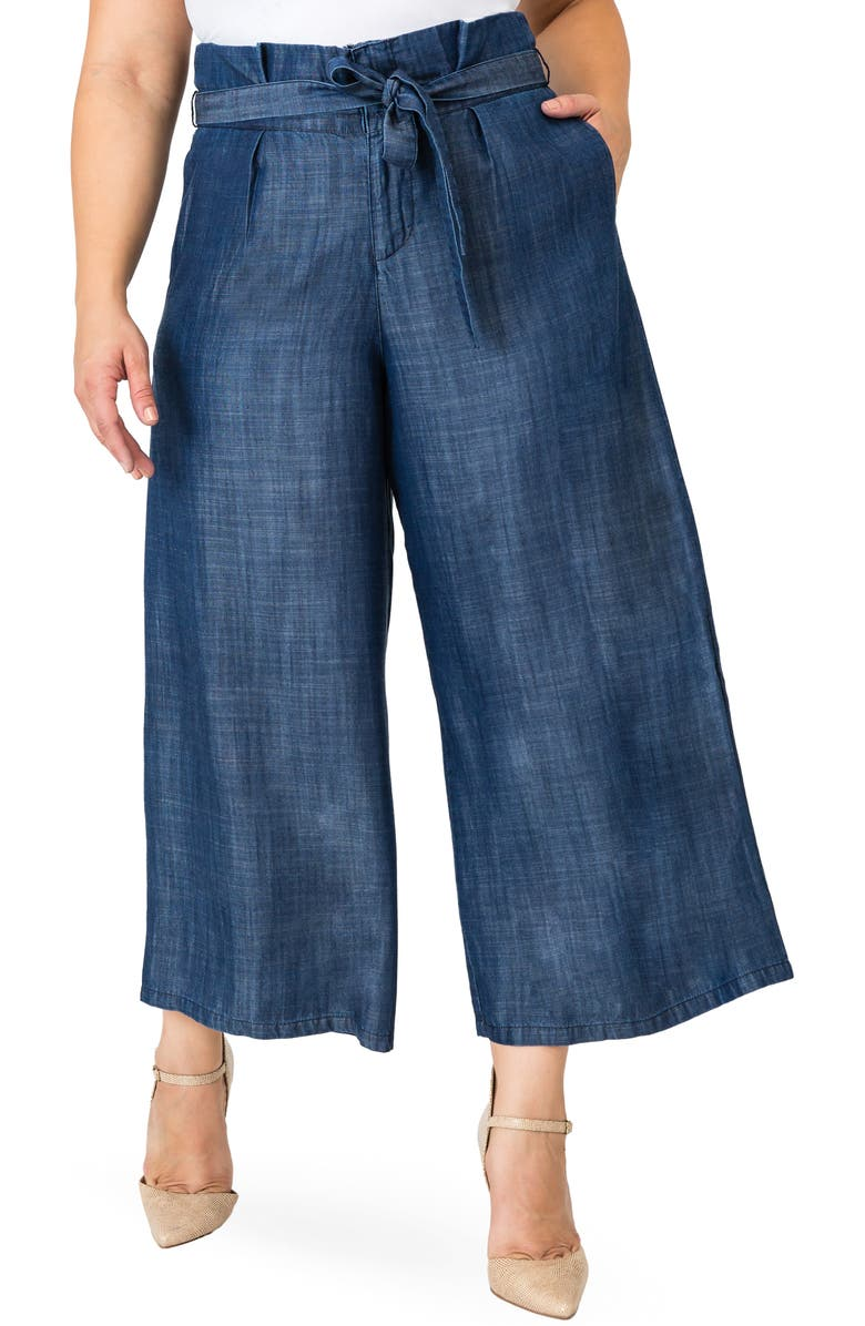 STANDARDS & PRACTICES Harper Paperbag Waist Crop Pants, Main, color, NAVY