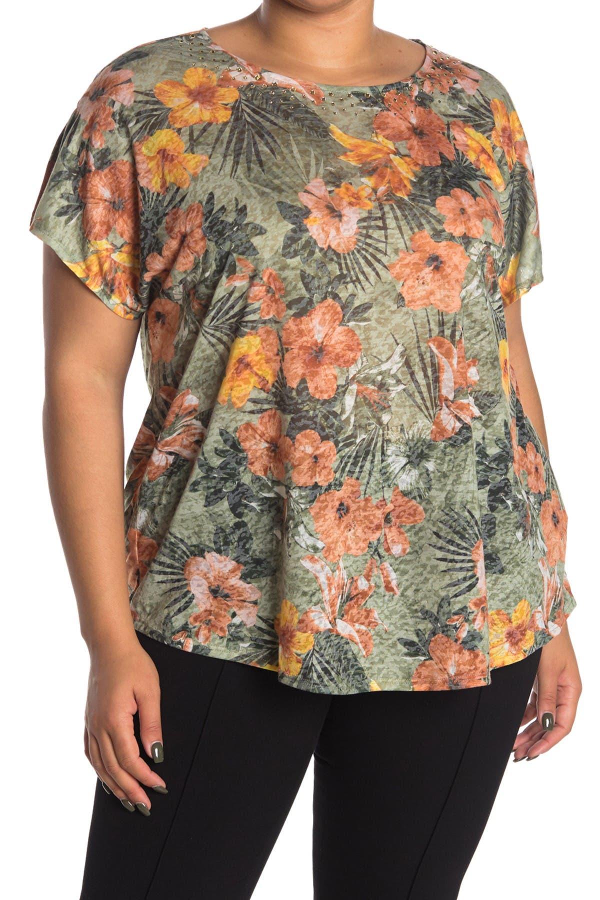 Image of Ruby Rd Summer Botanical Embellished Top