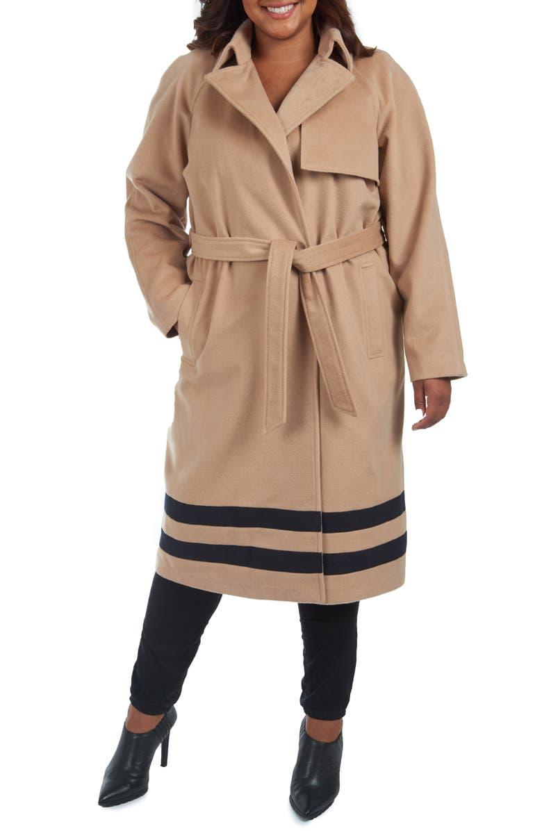 RACHEL RACHEL ROY Stripe Wrap Coat, Main, color, LIGHT CAMEL