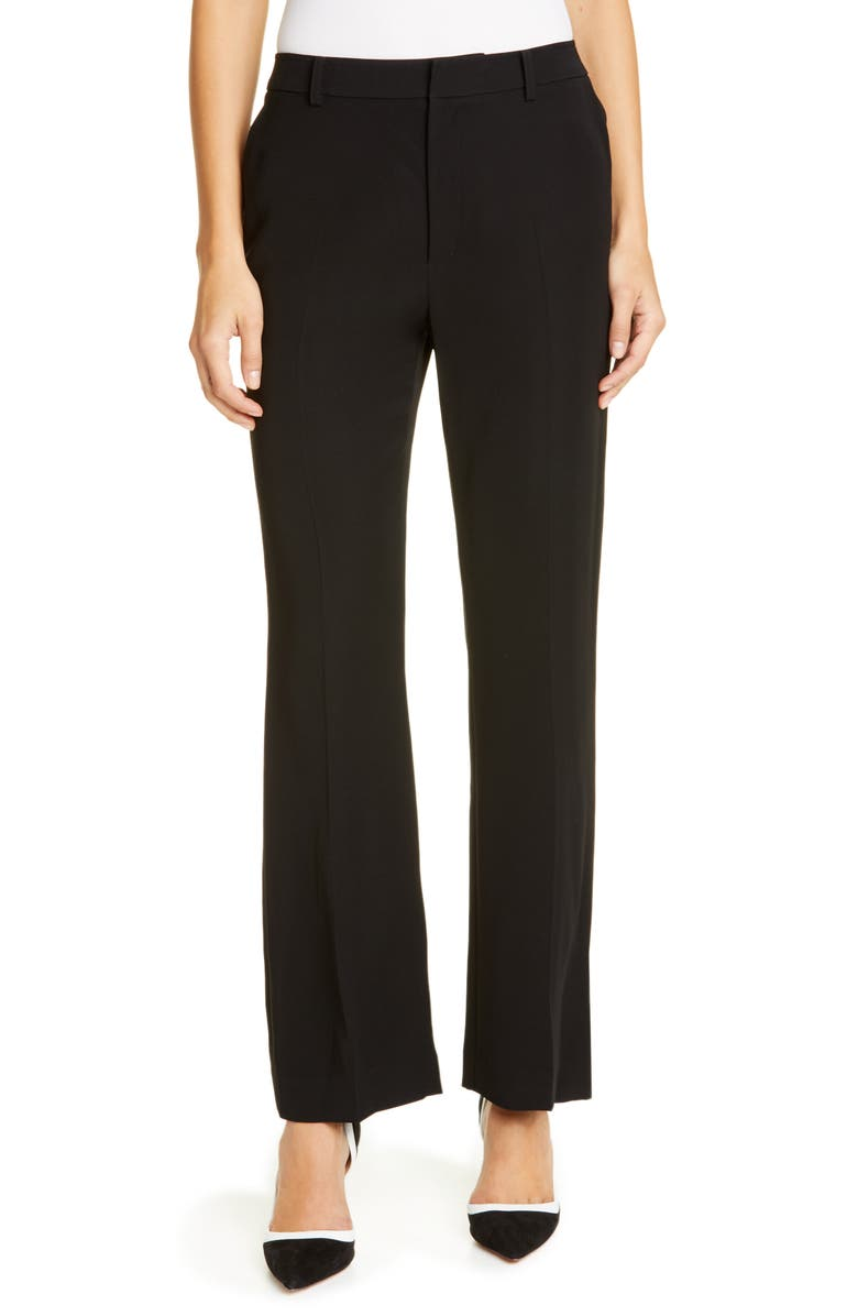 ADEAM Straight Leg Crepe Pants, Main, color, BLACK