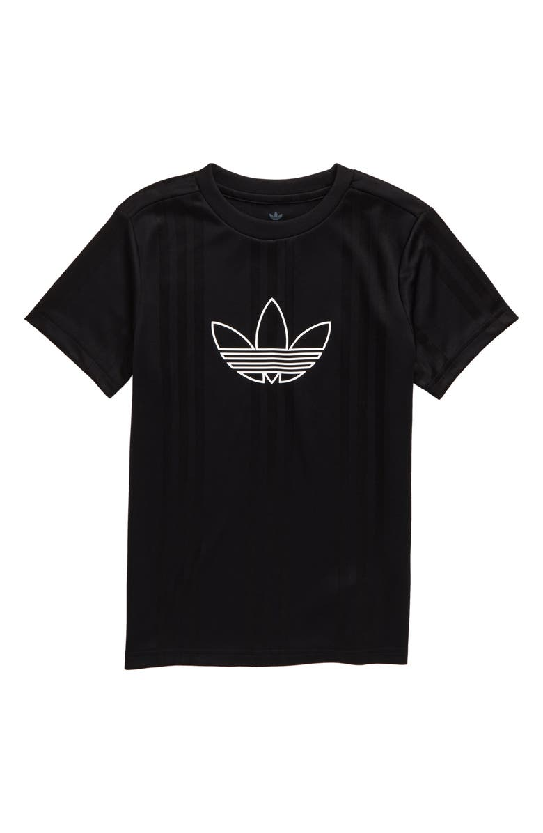 ADIDAS ORIGINALS Outline Logo Jersey Top, Main, color, BLACK/ WHITE