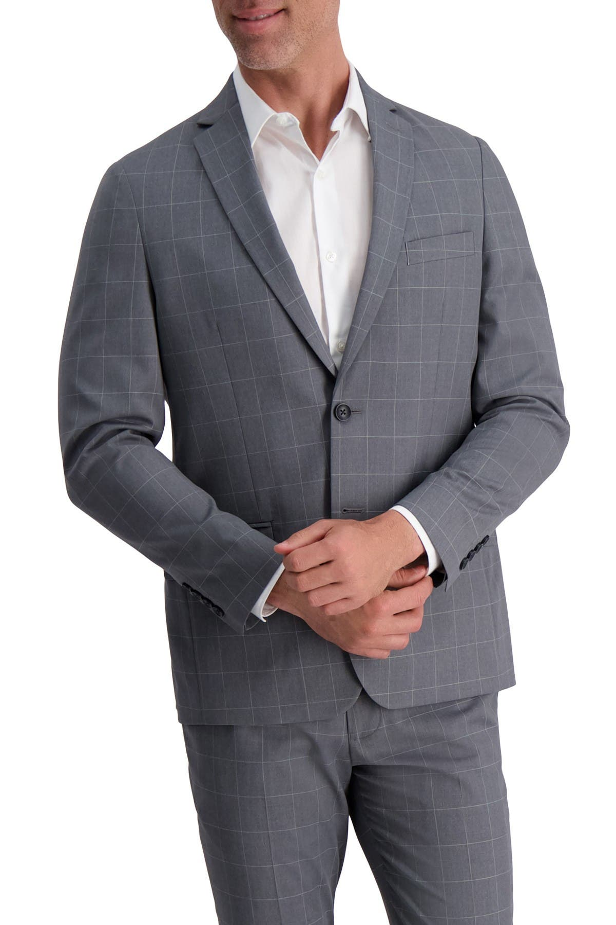 Mens 44R Raphael Slim Fit Solid Medium Gray Two Button Suit
