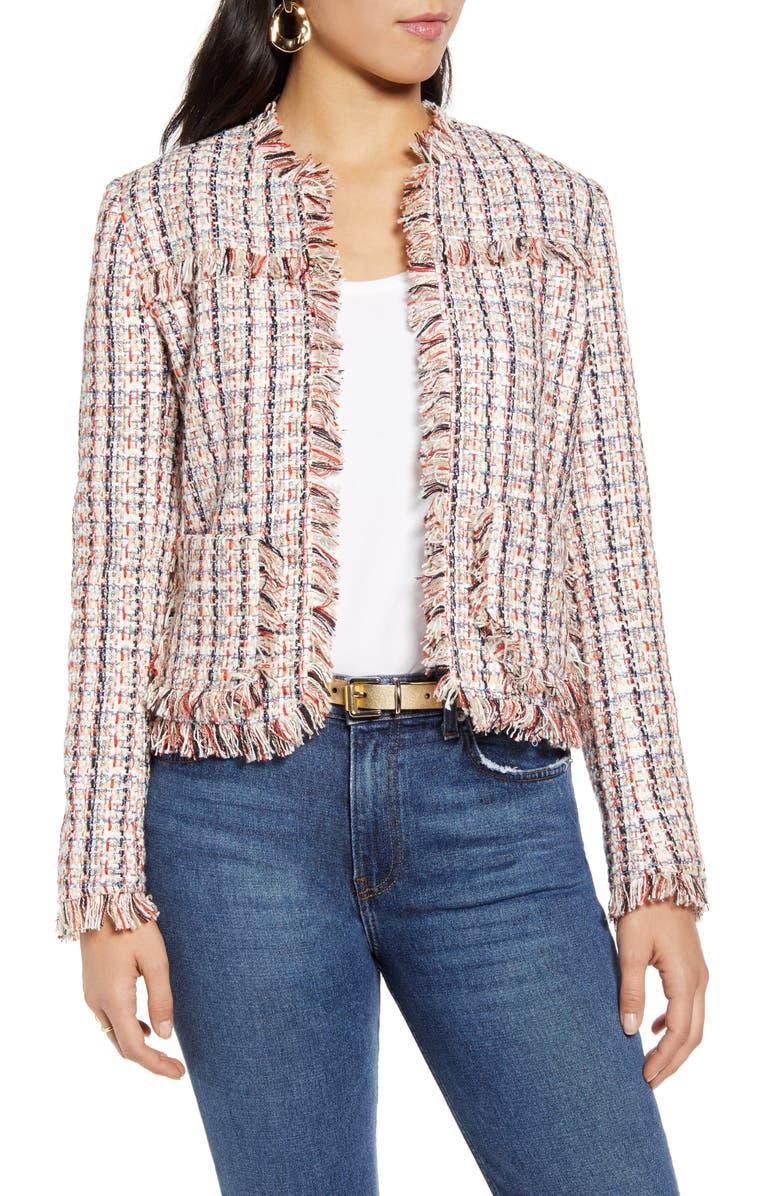 HALOGEN<SUP>®</SUP> Tweed Jacket, Main, color, IVORY MULTI TWEED