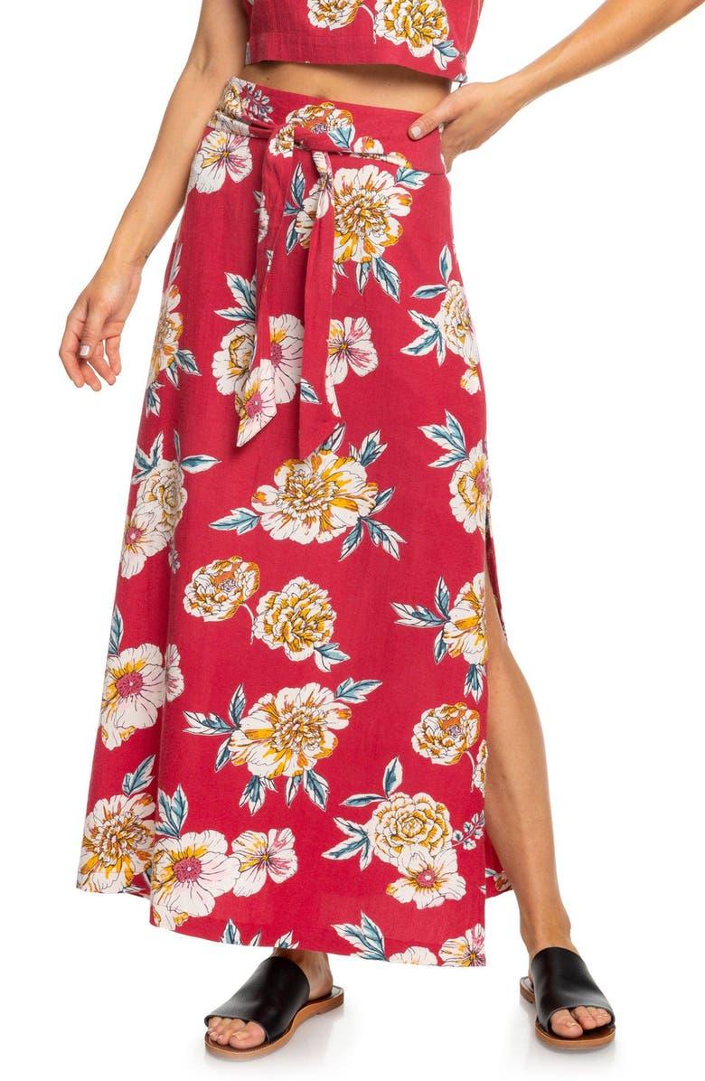 ROXY Island Evasion Floral Print Maxi Skirt, Main, color, DEEP CLARET SEPT