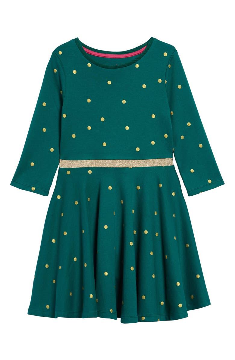 MINI BODEN Sparkle Long Sleeve Swing Dress, Main, color, LINDEN GREEN WINTER SCENE