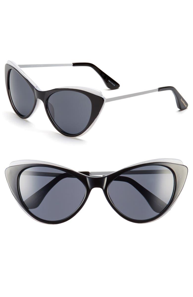 ISAAC MIZRAHI NEW YORK 57mm Cat Eye Sunglasses, Main, color, 001