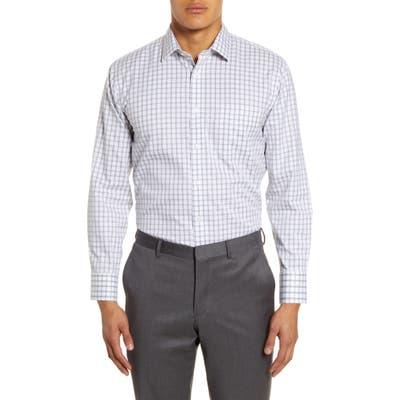 Nordstrom Shop Smartcare Trim Fit Plaid Dress Shirt - Grey