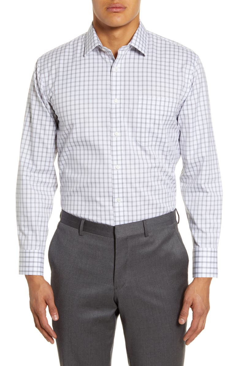 NORDSTROM MEN'S SHOP Smartcare Trim Fit Plaid Dress Shirt, Main, color, GREY SLEET