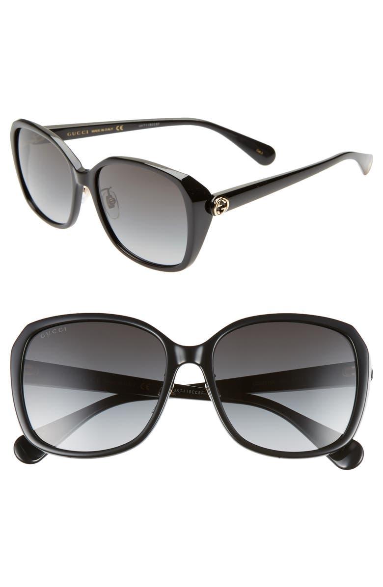 GUCCI 57mm Square Sunglasses, Main, color, BLACK