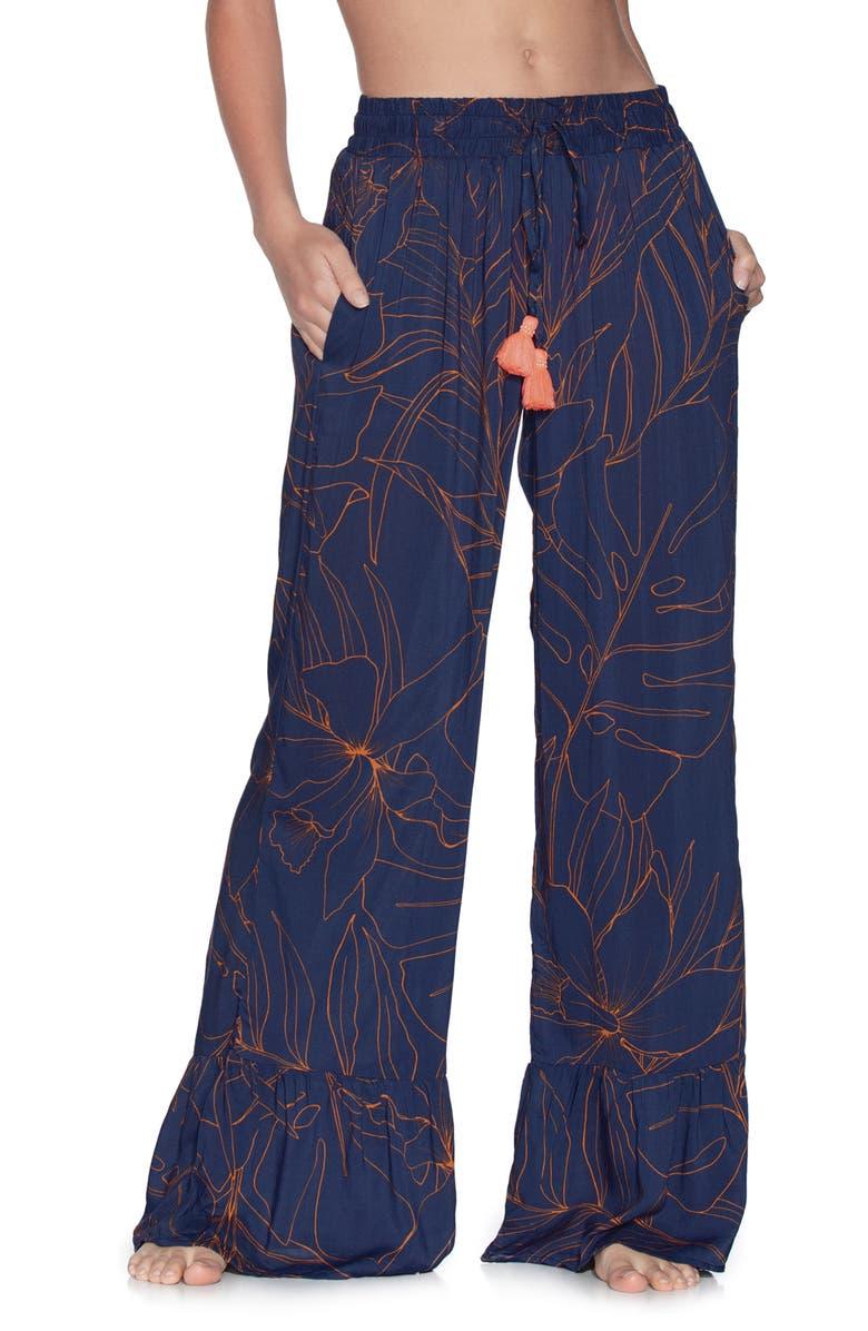 MAAJI Ocean Blue Wide Leg Cover-Up Pants, Main, color, INK BLUE