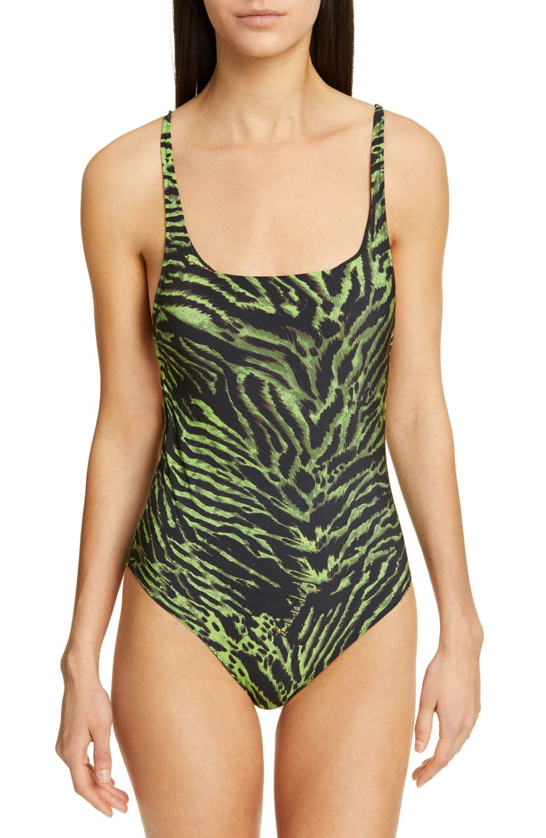 GANNI Tiger Print One-Piece Swimsuit, Main, color, LIME TIGER