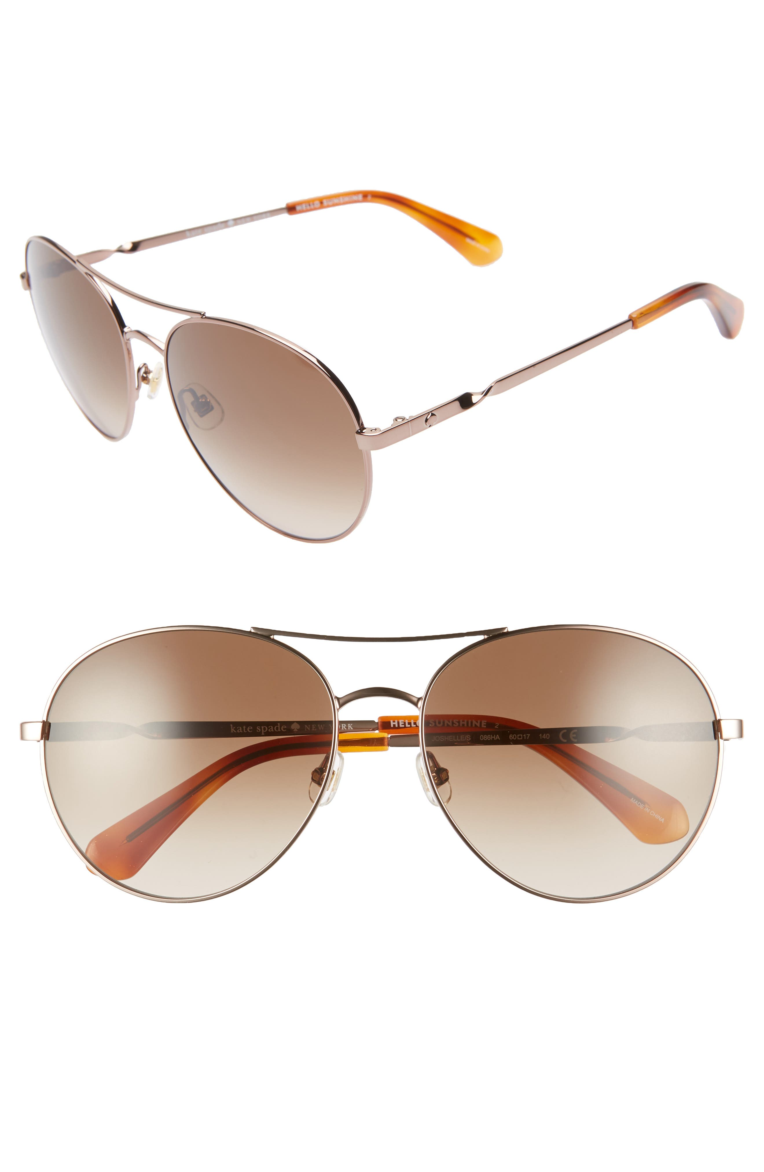 Image of kate spade new york joshelle 60mm polarized aviator sunglasses