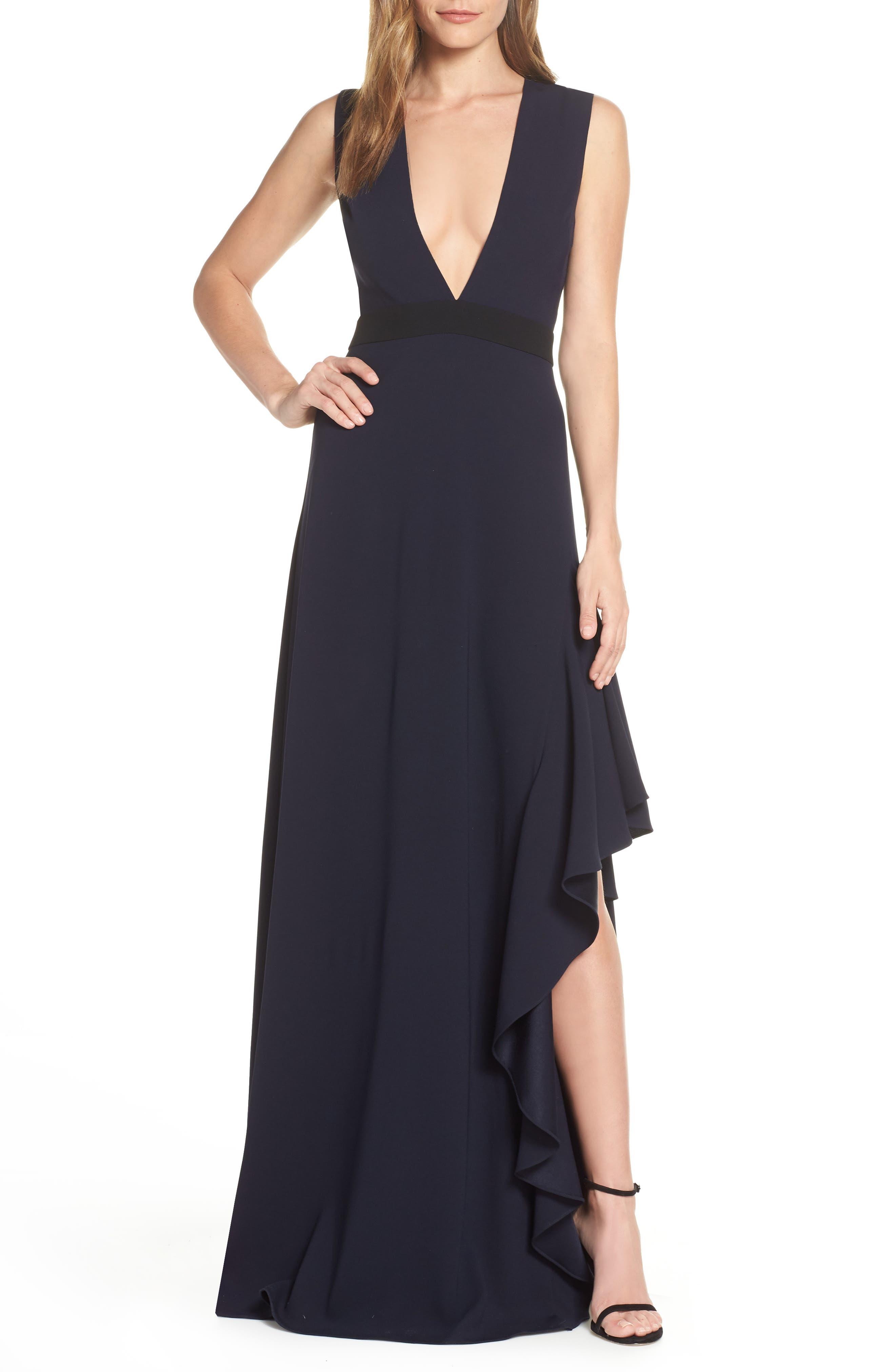 Ml Monique Lhullier Sleeveless Crepe Gown, Blue