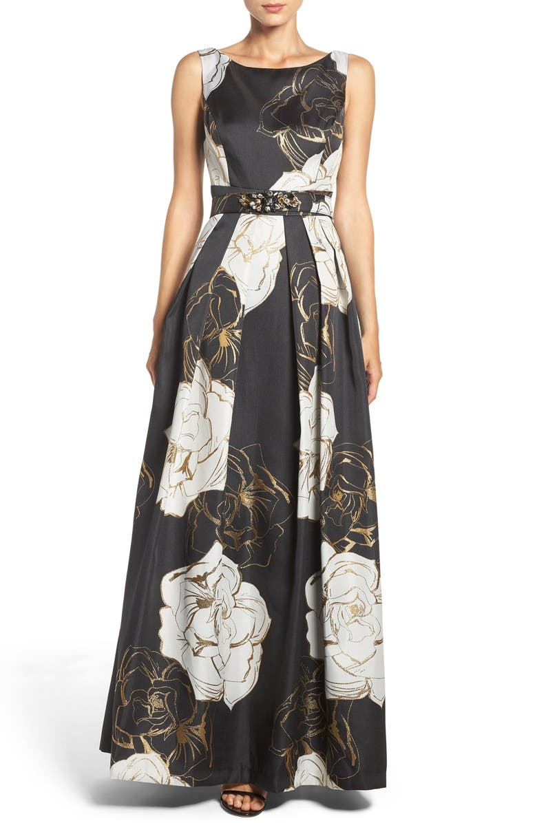 ELIZA J Belted Metallic Jacquard Gown, Main, color, 002