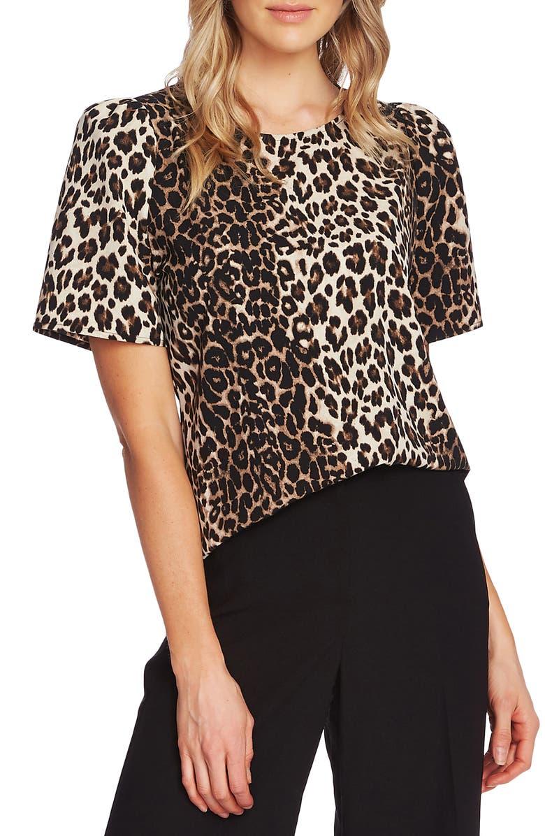 VINCE CAMUTO Elegant Stripe Leopard Short Sleeve Blouse, Main, color, 006
