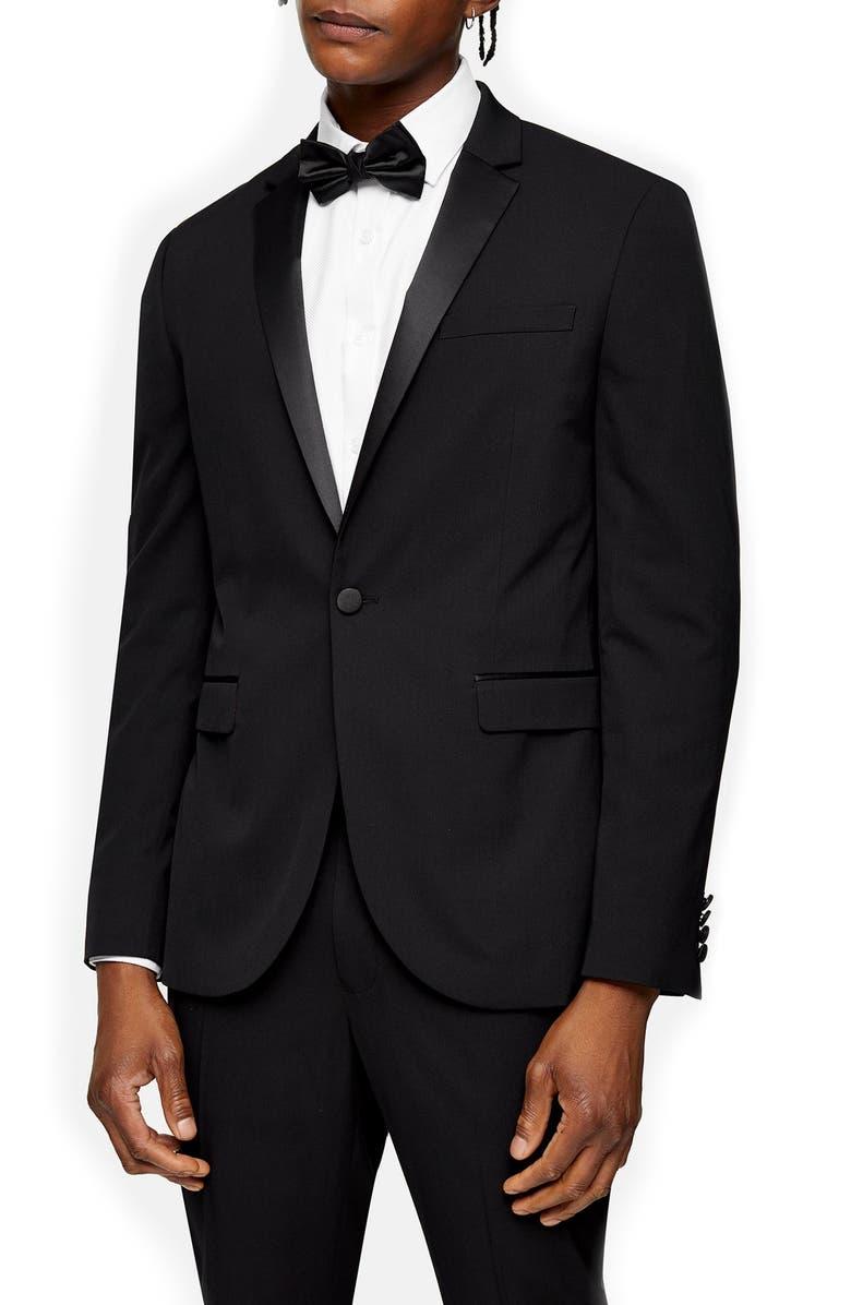 TOPMAN Skinny Tux Jacket, Main, color, BLACK