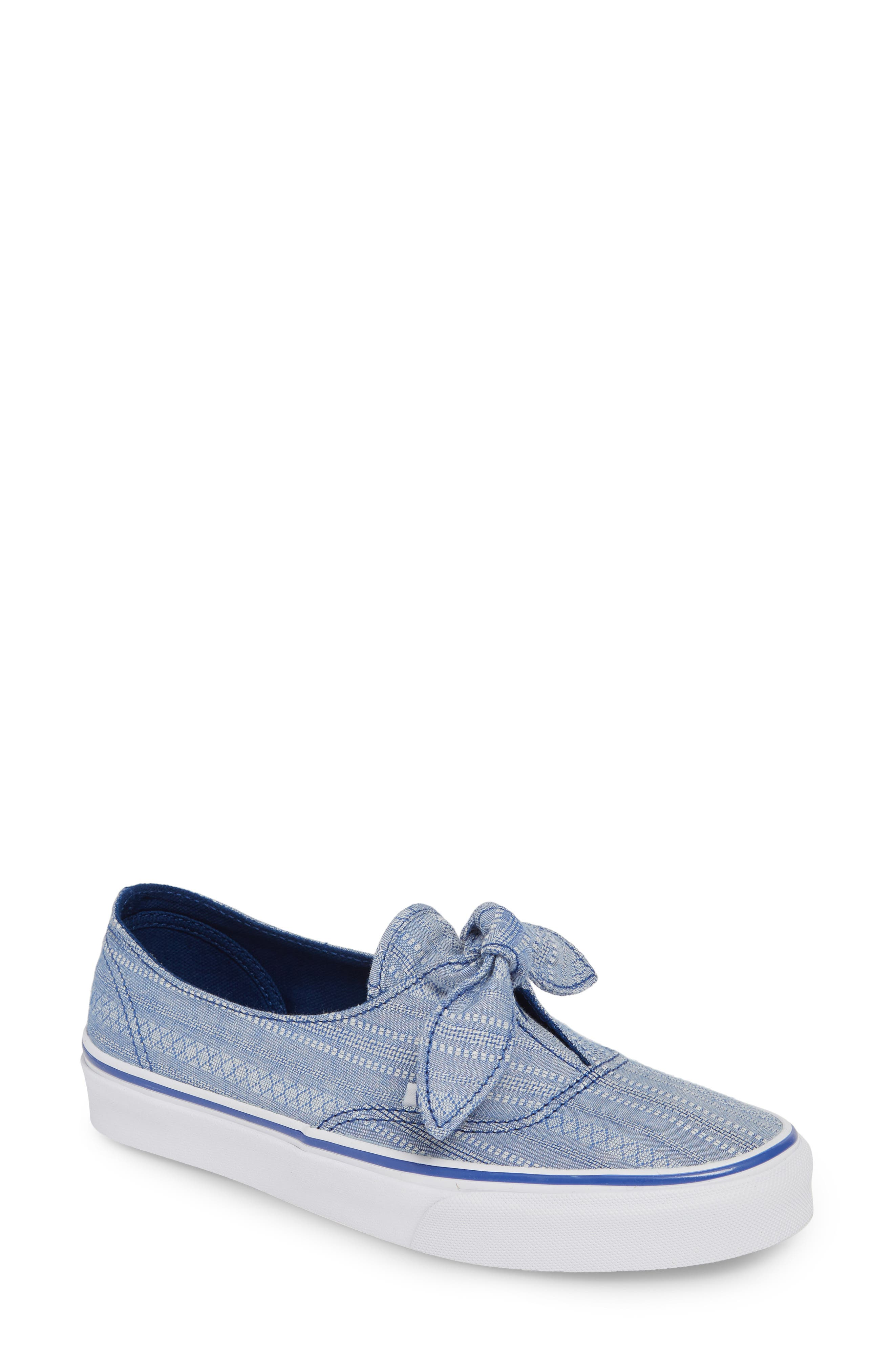 Vans Ua Authentic Knotted Lace Chambray Sneaker, Blue