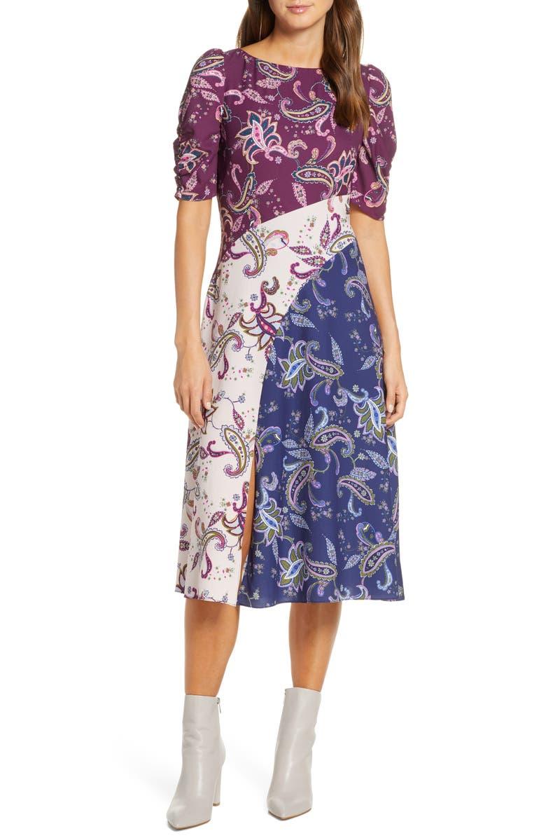 ELIZA J Paisley Pattern Mix Midi Dress, Main, color, 500