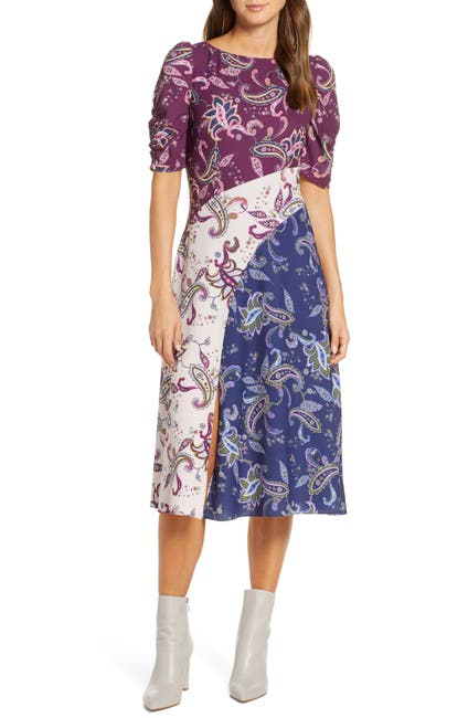 Image of Eliza J Paisley Pattern Mix Midi Dress