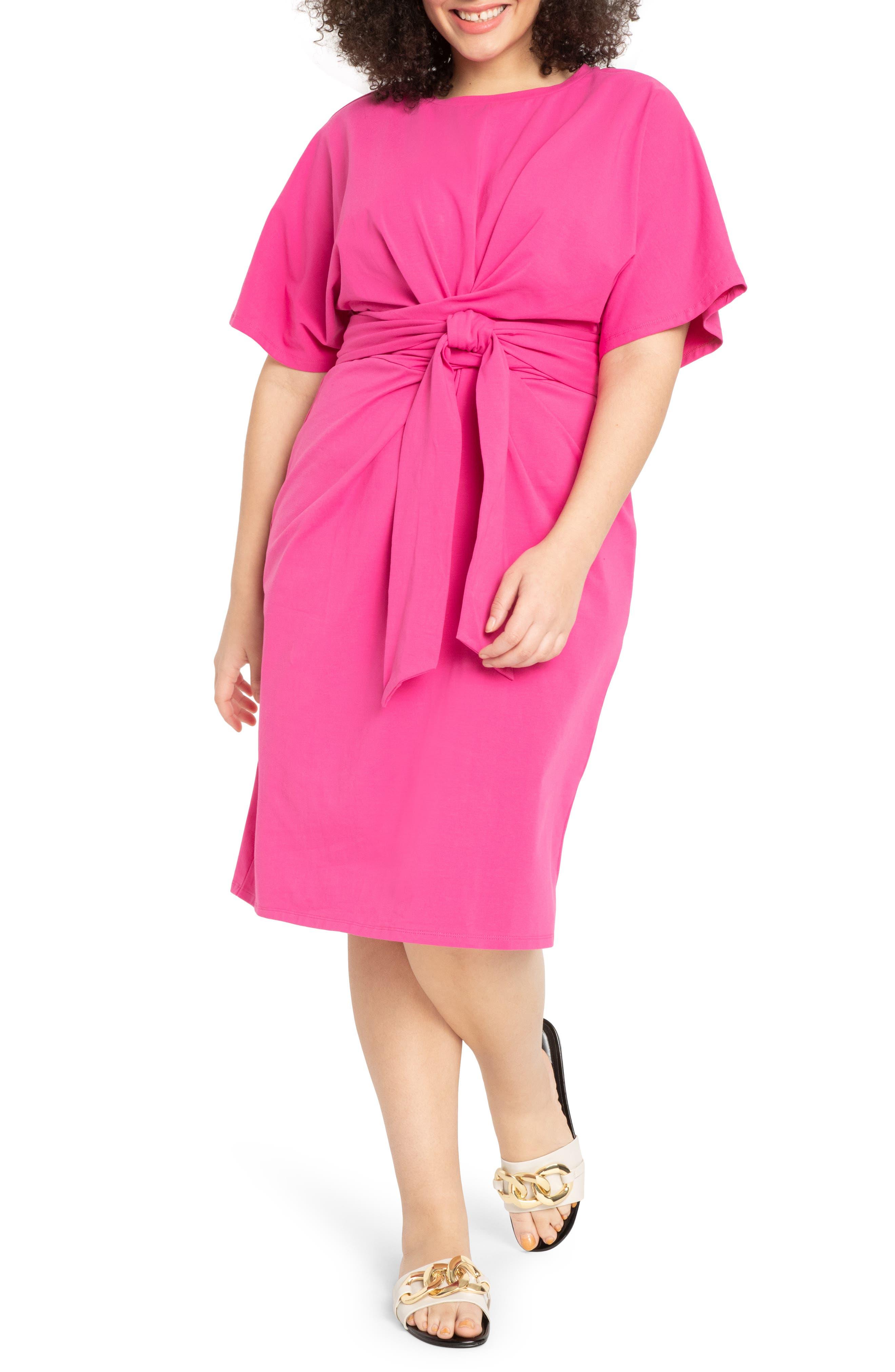 Tie Front Flutter Sleeve Midi Sheath Dress