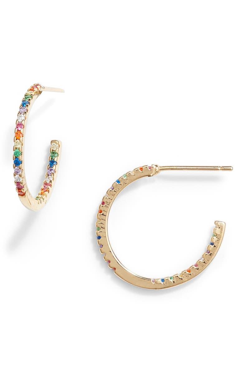8 OTHER REASONS Paula Pavé Hoop Earrings, Main, color, 710