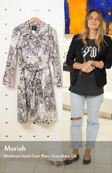 Snake Print Double Breasted Stretch Cotton Trench Coat, sales video thumbnail