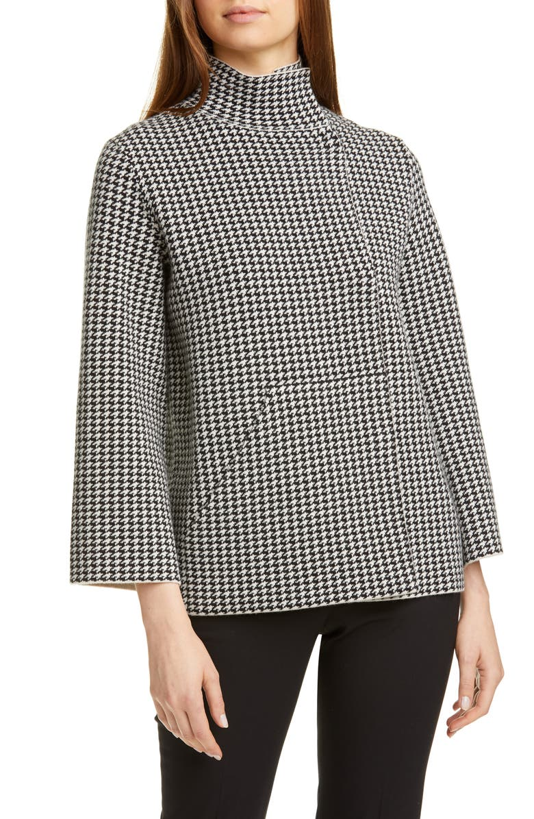 AKRIS Reversible Houndstooth Jacquard Cashmere Blend Cardigan, Main, color, 911-BLACK-BIRCH