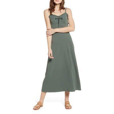 Love, Fire Lace Up Midi Dress, Green