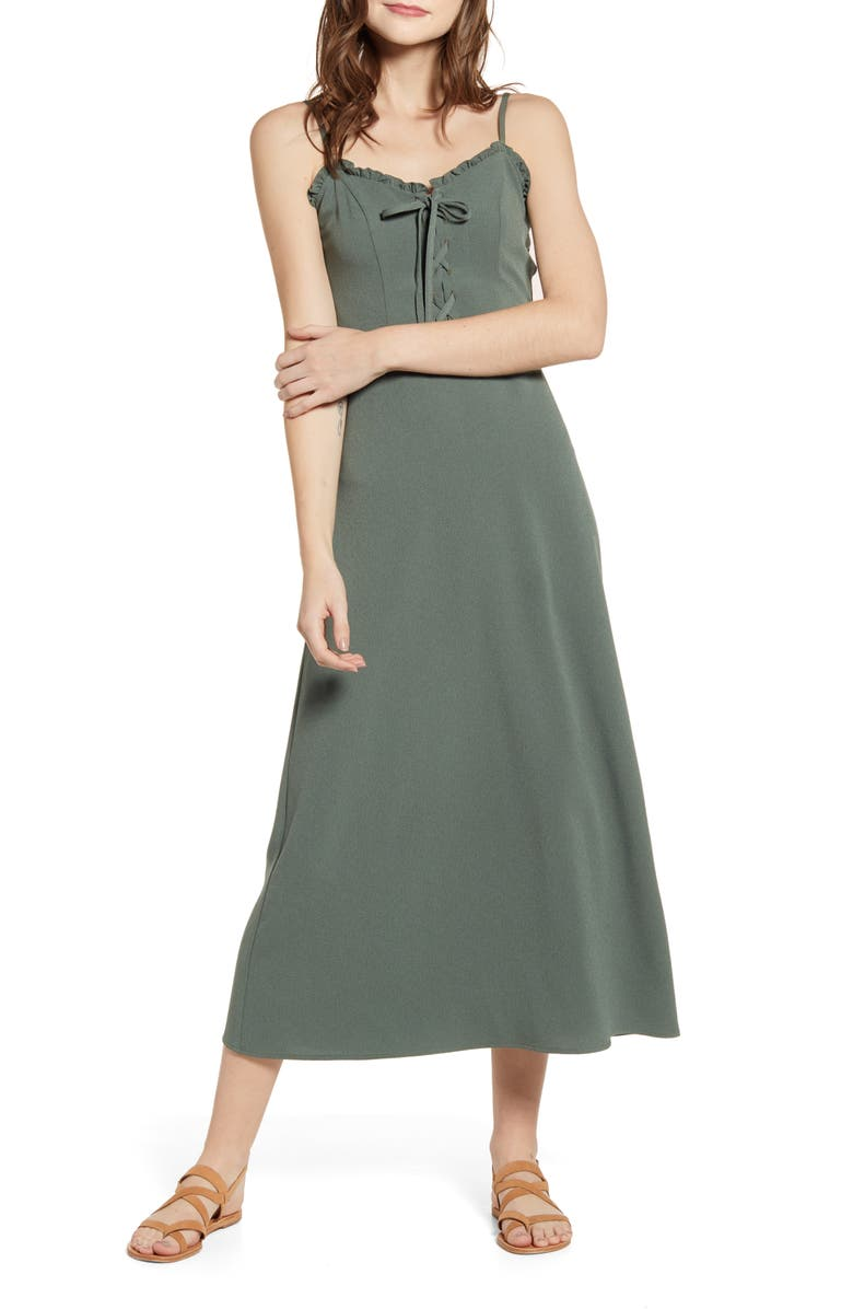 LOVE, FIRE Lace Up Midi Dress, Main, color, OLIVE