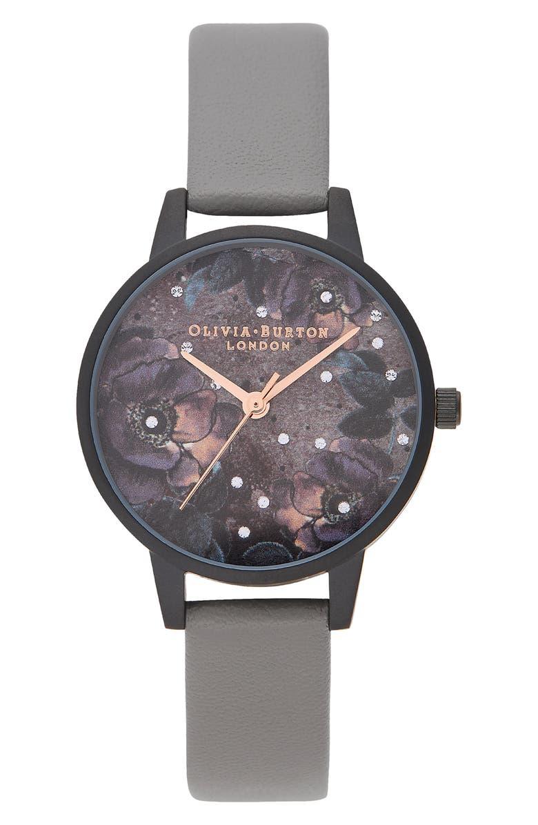 OLIVIA BURTON Celestial Faux Leather Strap Watch, 30mm, Main, color, GREY/ PURPLE FLORAL/ BLACK