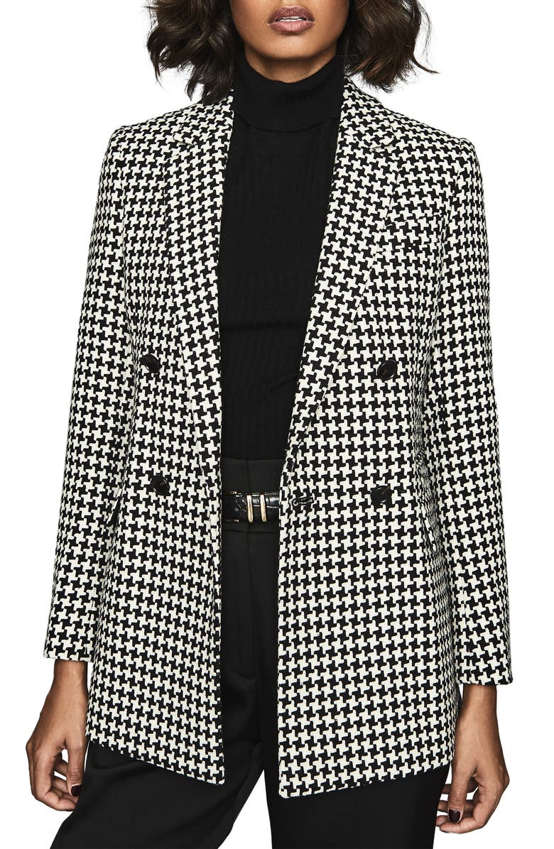 REISS Rose Puppytooth Check Wool Blend Blazer, Main, color, MONOCHROME