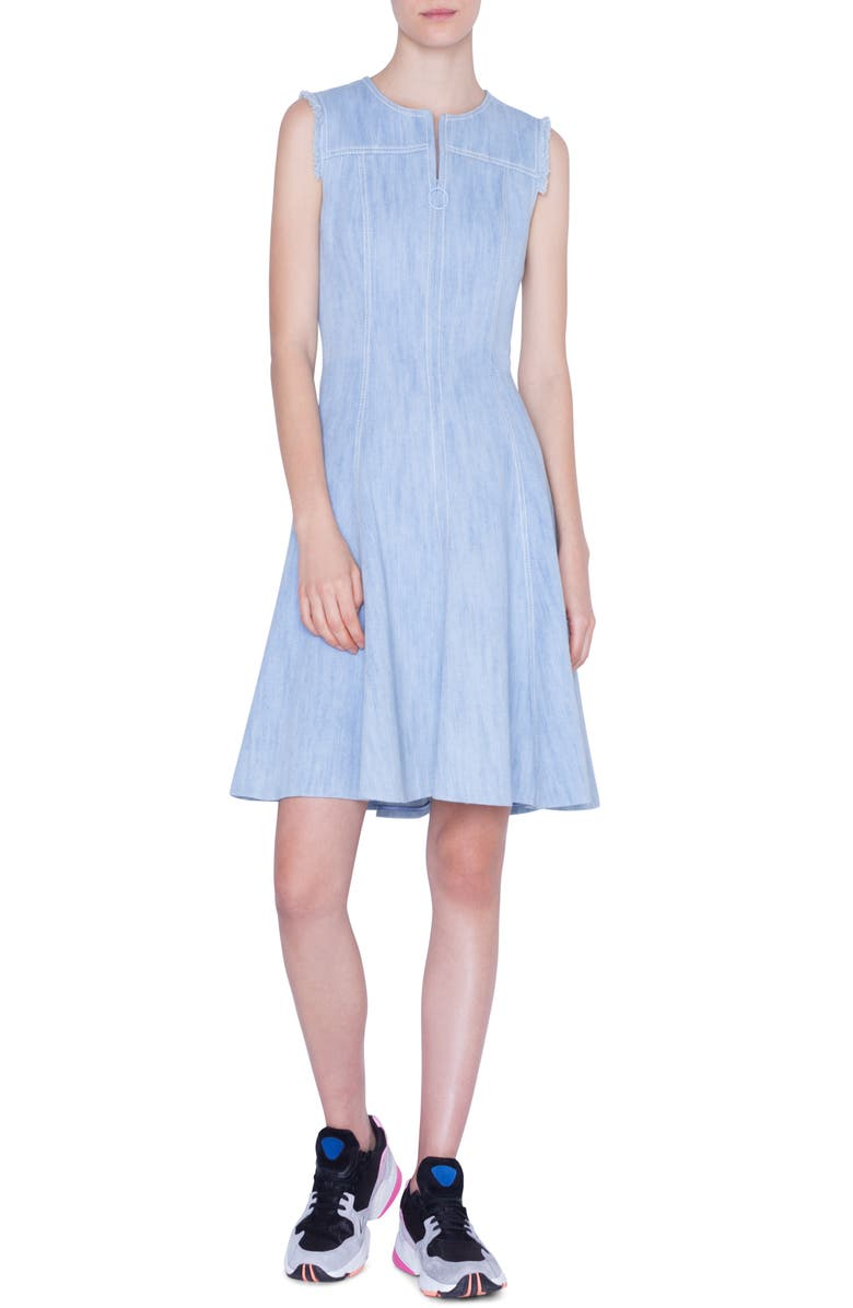 AKRIS PUNTO Sleeveless Denim Dress, Main, color, BLEACHED DENIM