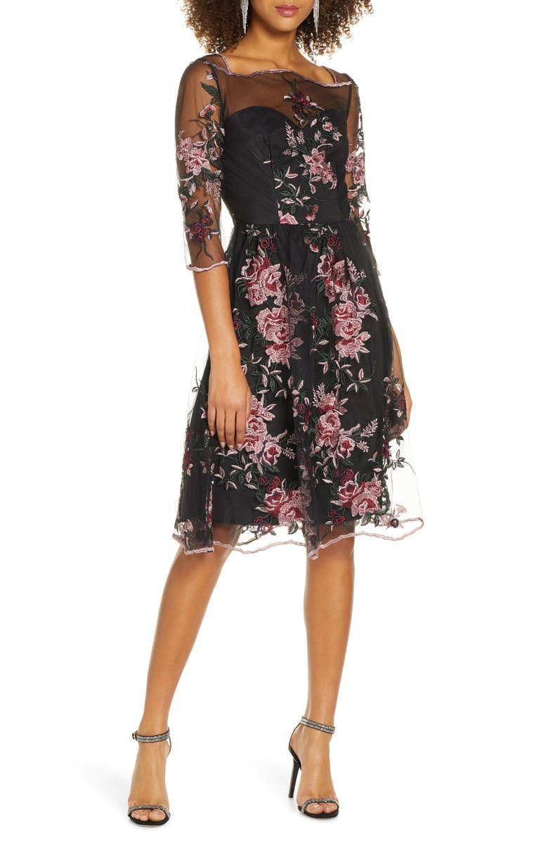 CHI CHI LONDON Adalee Embroidered Floral Fit & Flare Cocktail Dress, Main, color, BLACK